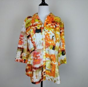 Lafayette 148 New York Pleated Watercolor Blouse